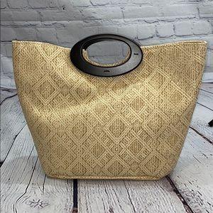 NWT large Magic straw beach bag, wooden handles